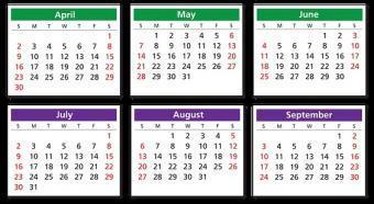 半年分のカレンダー